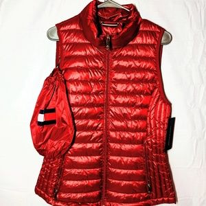 New Womens Tommy Hilfiger Puffer Red Vest Small